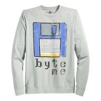 American Rag Byte Me Graphic Crewneck Sweatshirt Pewter Grey Heather X-Large