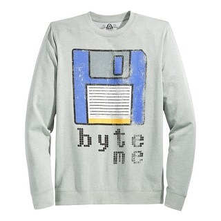 American Rag Byte Me Graphic Crewneck Sweatshirt Pewter Gray Heather X-Large XL