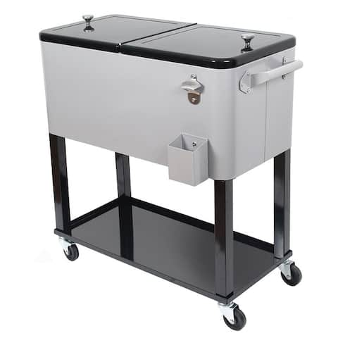80 Quart Rolling Outdoor Patio Cooler Cart on Wheels, Solid