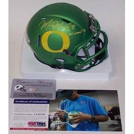 Marcus Mariota Autographed Hand Signed Oregon Ducks Apple Green Speed Mini Helmet