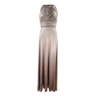 Calvin Klein Women's Embellished Halter Metallic Jersey Gown