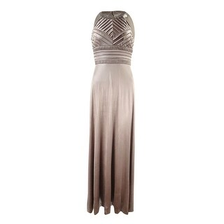 Calvin Klein Women's Embellished Halter Metallic Jersey Gown - Khaki (3 options available)