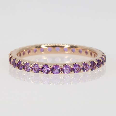 Miadora 10k Rose Gold Amethyst Stackable Eternity Wedding Band Ring