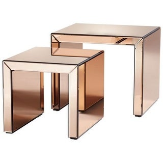 Cyan Design Abigail Nesting Tables Abigail 20 Inch Long Wood And Mirrored  Glass Nesting Table