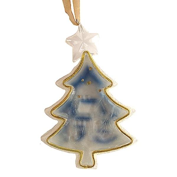 "3"" Crystal Elegance Winter Scene Tree-Shaped Christmas Ornament - CLEAR"