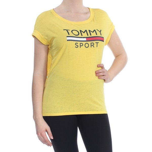 06a68f2e6 Shop TOMMY HILFIGER Womens Yellow Logo T Shirt Short Sleeve Scoop Neck Top  Size  M - Free Shipping On Orders Over  45 - Overstock - 27987518