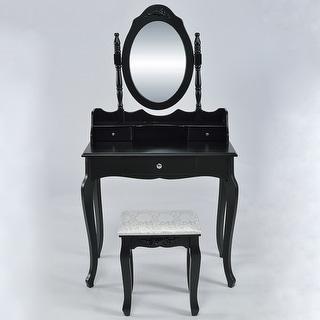 Belleze Vanity Set Vintage Style Vanity Dressing Table Makeup Desk with Mirror and Stool Bedroom, Black