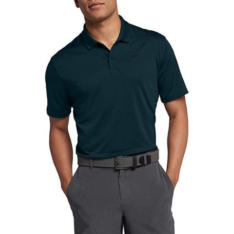 Nike Men's Dry Victory Polo Solid Left Chest, Midnight Spruce/Black, Small