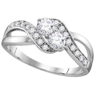 5/8Ctw Diamond Bridal Engagement Ring 10K White-Gold