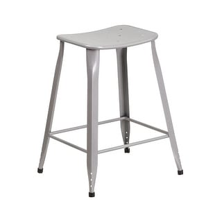 Offex 24'' High Silver Metal Indoor-Outdoor Counter Height Saddle Comfort Stool