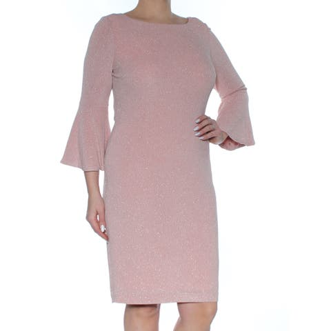 promo code adb8e 74437 CALVIN KLEIN Womens Pink Glitter Bell Sleeve Boat Neck Above The Knee Shift  Party Dress Size