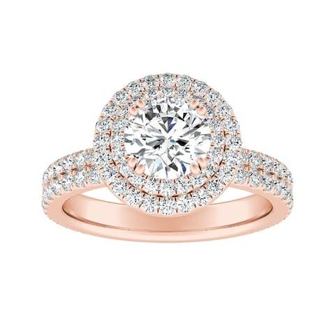 Auriya 14k Gold 2ct Moissanite Halo Diamond Engagement Ring 9/10ctw