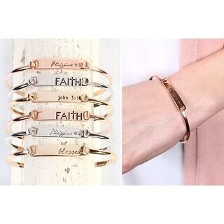 RIAH FASHION'S Delicate Inspirational Quote Bar Metallic Bracelet