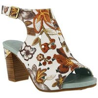 L'Artiste by Spring Step Women's Tapestry Open Toe Bootie White/Brown Multi Leather