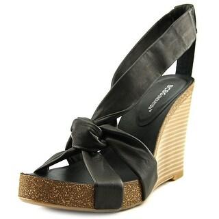 BCBGeneration Teagan Women Open Toe Leather Black Wedge Sandal