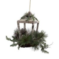 "12"" Rustic Glittered Christmas Candle Lantern with Foliage, Pine Cones and Jingle Bells - green"