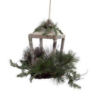 """12"""" Rustic Glittered Christmas Candle Lantern with Foliage, Pine Cones and Jingle Bells"""