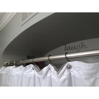 Shop NeverRust Brushed Nickel Curved Shower Rod And Rings With White Curtain Liner