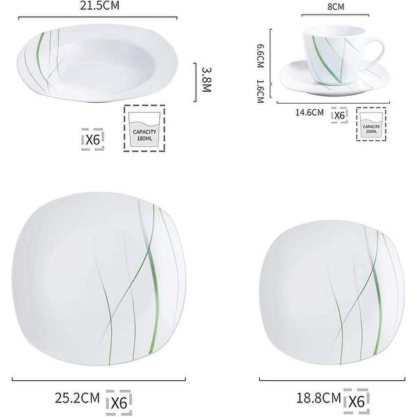 VEWEET 'Aviva' Porcelain Dinnerware Set (Service for 6)