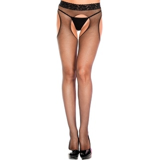 Seamless Suspender Fishnet Pantyhose, Open Crotch Fishnet Pantyhose