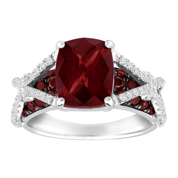 4 5/8 Natural Garnet & White Topaz Ring in Sterling Silver - Red