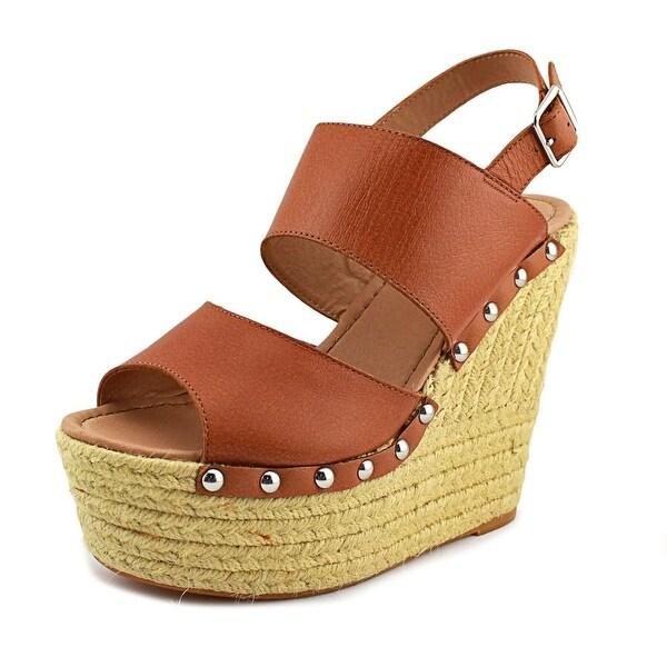 Steve Madden Jummbo Women Open Toe Leather Brown Wedge Sandal