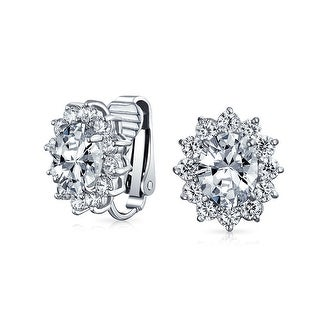 Bling Jewelry Bridal Stud Oval CZ Clip On Wedding Earrings Rhodium Plated Brass