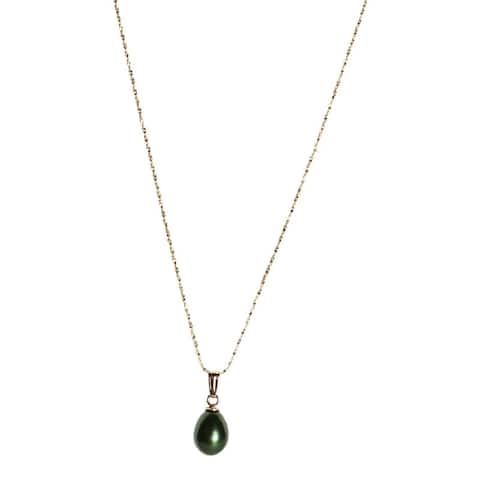 Teardrop Pearl on Gold Chain - Dark Silver, Green, Golden Brown, Peach, Pink, and Mauve