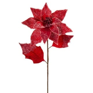 """Pack of 12 Artificial Red Snowy Poinsettia Christmas Stems 26"""""""