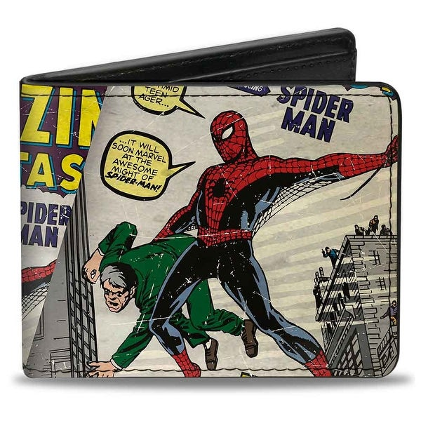 Marvel Comics Spider Man Carrying Man Amazing Fantasy #15 Comic Book Cover Bi-Fold Wallet - One Size Fits most