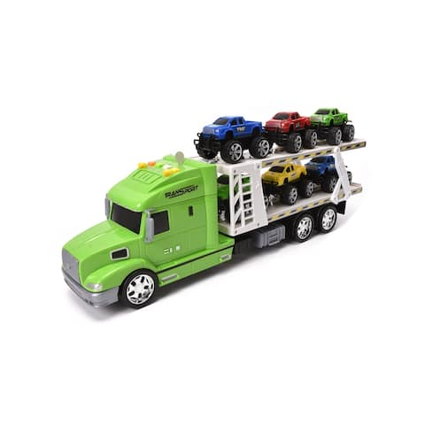 WonderPlay F/P Trailer Truck with 6PCS Pickup Truck, Light, Sound Little Kid 4 - 6 years - Green