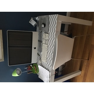 Altra Delilah White Grey Chevron Parsons Desk With Drawer