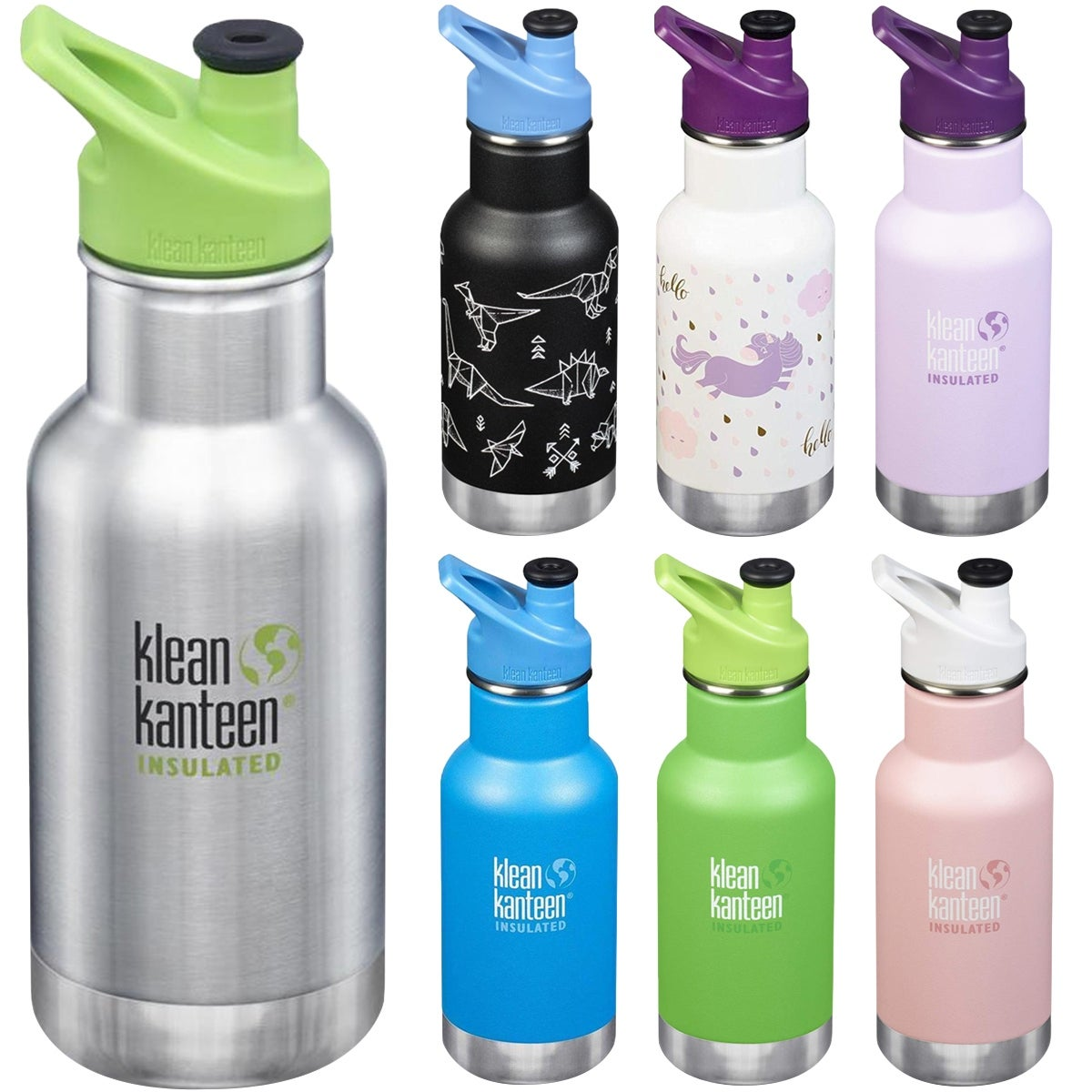 Klean Kanteen Kid Classic 12 oz. Insulated Bottle with 3.0 Sport Cap - 12 oz. (Paper Dinos Matte)