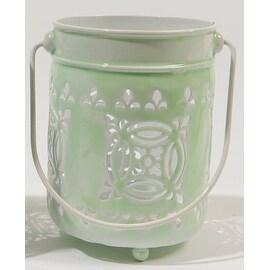 """7.5"""" L'Eau de Fleur Pale Mint Green Cut-Out Votive or Tea Light Candle Lantern"""