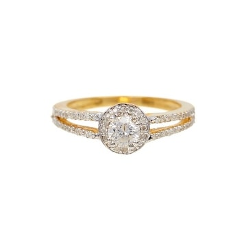 14K Gold Pointer White Diamond Ring