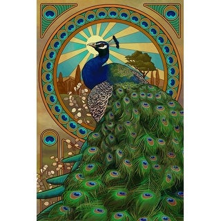 Peacock - Art Nouveau - Lantern Press Artwork (Playing Card Deck - 52 Card Poker Size with Jokers)