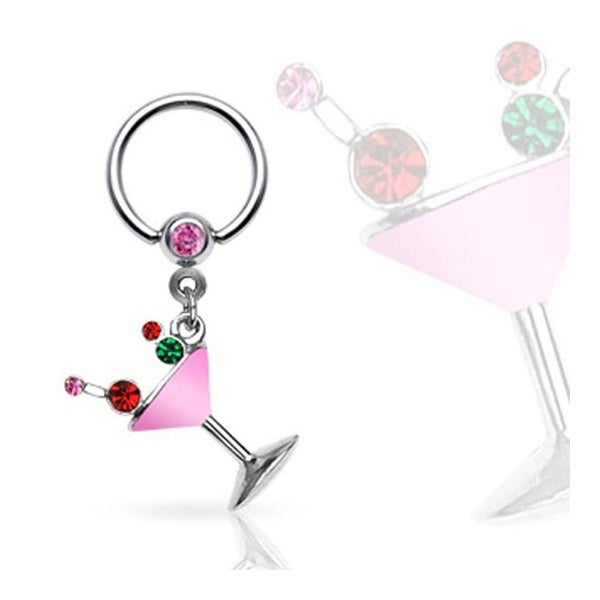 Surgical Steel Captive Bead Ring with Epoxy Gemmed Martini Glass Dangle - (Sold Ind.)