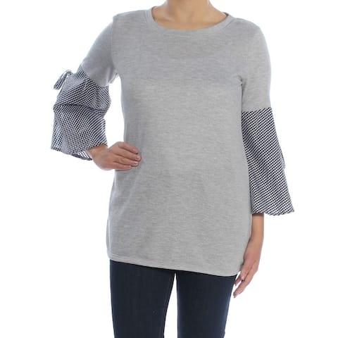NY COLLECTION Womens Gray Check Bell Sleeve Jewel Neck Top Size S