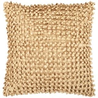 "18"" Gold Cumin Ribbon Weave Decorative Down Throw Pillow"