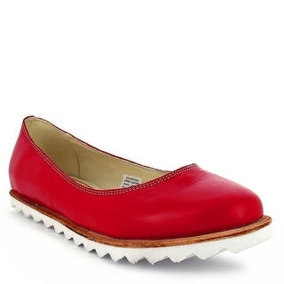 Oncextrees Adult Red Genuine Leather Fashionable Slip On Flats