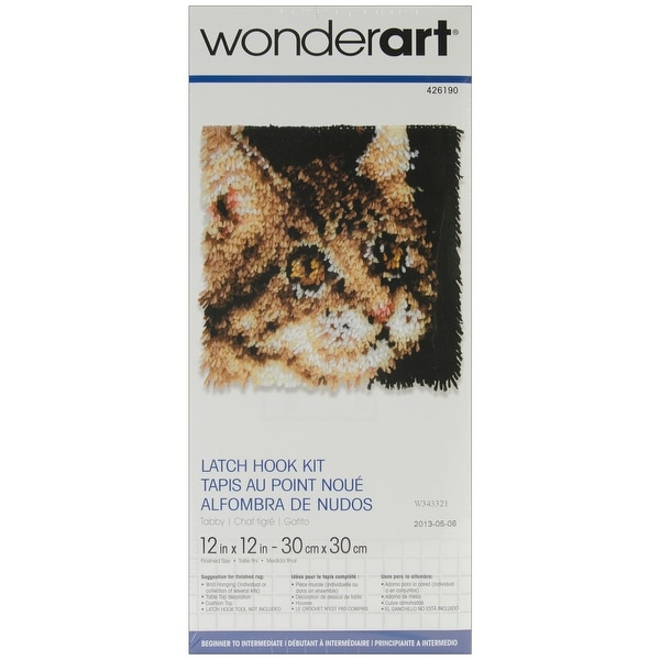 "Wonderart Latch Hook Kit 12""X12""-Tabby"