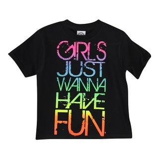 "Little Girls Black Multi Color ""Girls Just Wanna Have Fun"" Print T-Shirt"