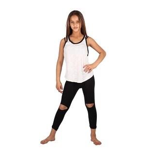 Lori & Jane Girls Black White Sleeveless Tank Summer Leggings Outfit