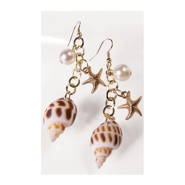 b49e2938bc Shop Mermaid Sea Shell Earrings, Mermaid Costume Accessories - as shown -  One Size Fits most - Free Shipping On Orders Over $45 - Overstock - 17825946
