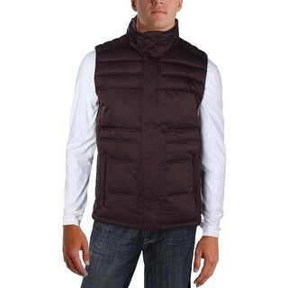 Calvin Klein Mens Outerwear Vest Packable Hood Snap/Zip-Up