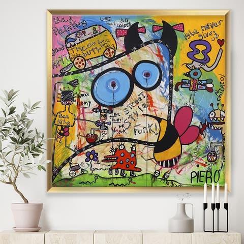 Designart 'Expressionist Grafitti Composition II' Modern & Contemporary Framed Art Print