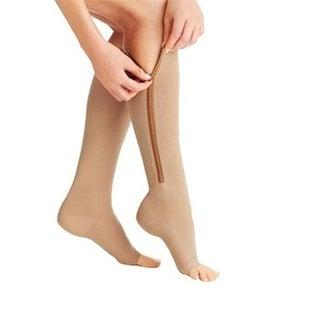 Tagco USA Open Toe Zipper Socks, Nude - Large & Extra Large