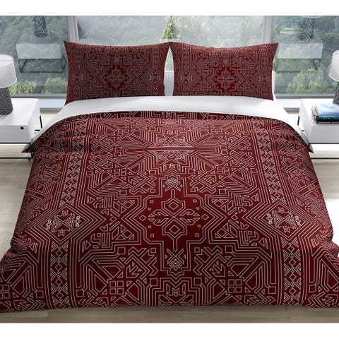SULTANATE BURGUNDY Duvet Cover by Kavka Designs