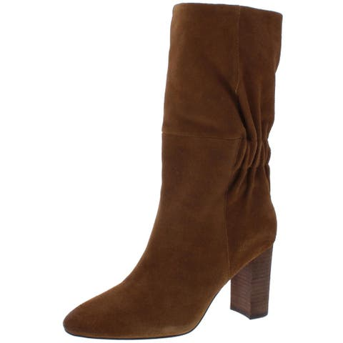 Charles by Charles David Womens Barrie Mid-Calf Boots Gathered Almond Toe - Biscotti Suede - 6.5 Medium (B,M)