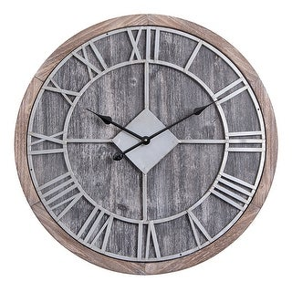 "Link to Oversized Roman Round Wall Clock -28"" In Grey Wood finish Similar Items in Decorative Accessories"